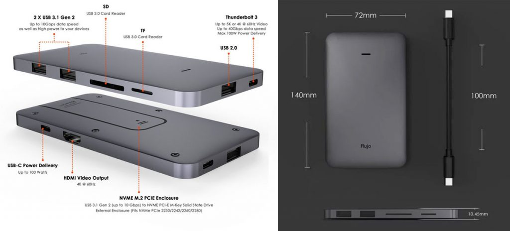 Flujo Signature Pro USB-C Hub with SSD Enclosure Launches on Kickstarter-Chargerlab