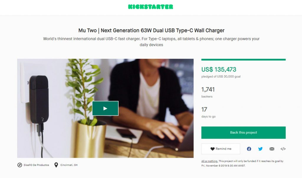 Mu Two Launched at Kickstarter as the World's Thinnest Global Charger with GaN Tech-Chargerlab