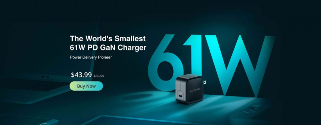 RAVPower's PD Pioneer 61W GaN Charger Now Available-Chargerlab