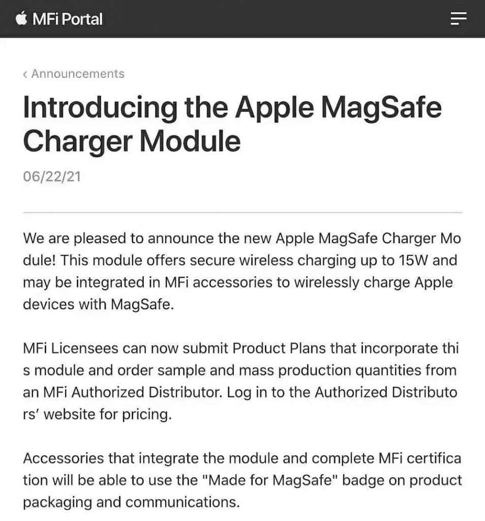 Apple Starts 15W MagSafe Wireless Charging Certification-Chargerlab